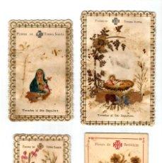 Postales: LOTE DE ANTIGUAS ESTAMPITAS TRES TROQUELADAS FLORES DE TIERRA SANTA. Lote 162613622