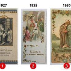 Postales: LOTE 3 ESTAMPAS RECUERDO DE LA PRIMERA COMUNIÓN – VALENCIA – AÑOS 1927, 1928 Y 1930 . Lote 162841054