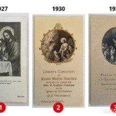Postales: LOTE 3 ESTAMPAS RECUERDO DE LA PRIMERA COMUNIÓN – VALENCIA – AÑOS 1927, 1930 Y 1931 . Lote 162849466
