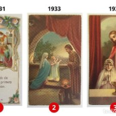 Postales: LOTE 3 ESTAMPAS RECUERDO DE LA PRIMERA COMUNIÓN – VALENCIA – AÑOS 1931, 1933 Y 1935. Lote 162865210