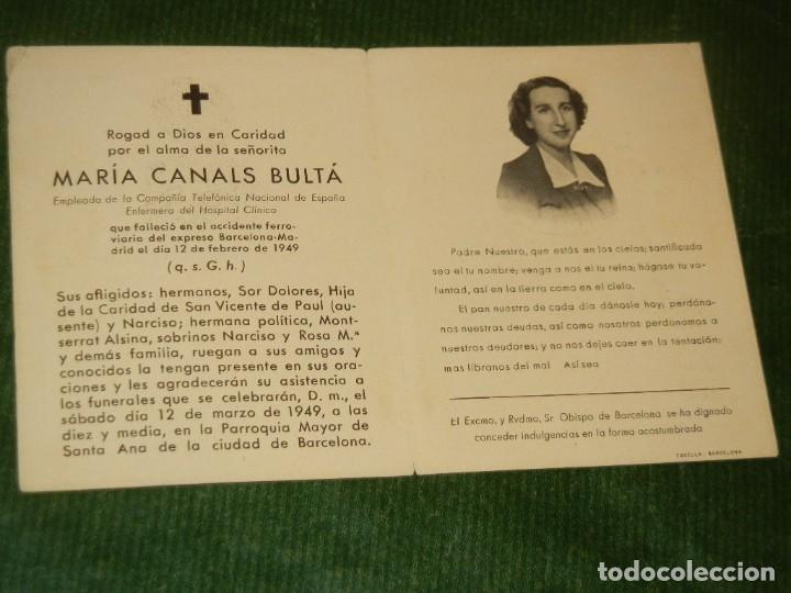 Postales: RECORDATORIO VICTIMA ACCIDENTE EXPRESO BARCELONA-MADRID 12 FEBRERO 1949 - Foto 2 - 163612790