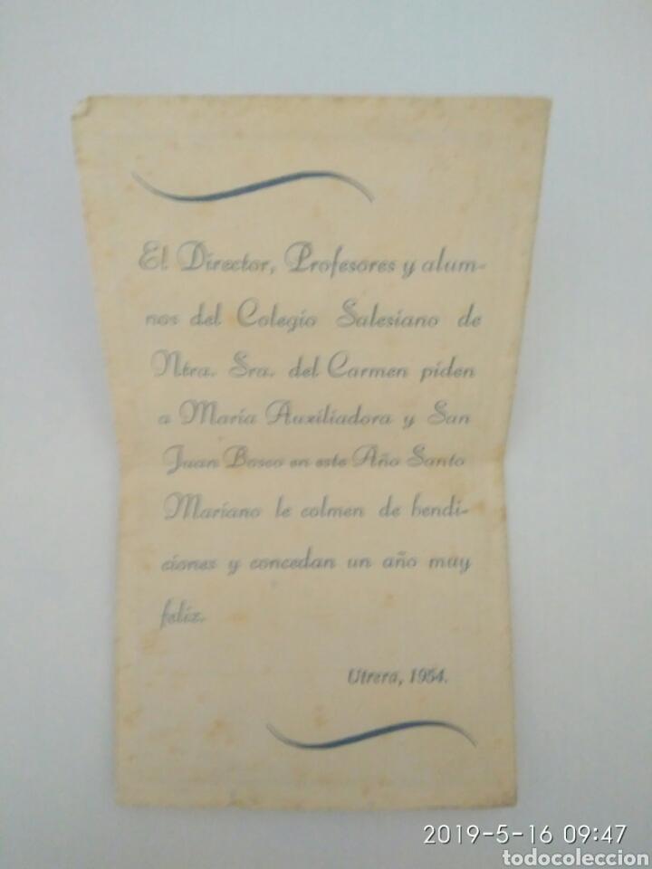 Postales: Recordatorio religioso colegio salesianos señora del Carmen María Auxiliadora y San Juan Bosco 1954 - Foto 2 - 164419105