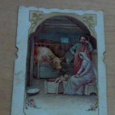 Postales: ESTAMPA RELIGIOSA TROQUELADA SAGRADA FAMILIA 11X5 CM. ENTELADA. Lote 164597378