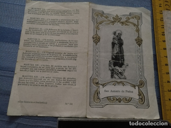 OFERTA POR LOTES - ANTIGUA ESTAMPA RELIGIOSA - DIPTICO SAN ANTONIO DE PADUA (Postales - Postales Temáticas - Religiosas y Recordatorios)