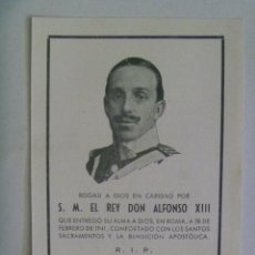 Postales: RECORDATORIO DE LA MUERTE DEL REY ALFONSO XIII , ROMA 1941 . CON FOTO. Lote 166630750