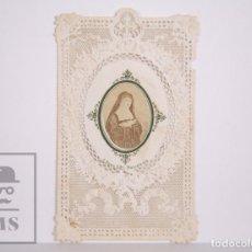 Postales: ANTIGUA ESTAMPA RELIGIOSA TROQUELADA CON PUNTILLA - BEATA ALACOQUE - PRINCIPIOS S. XX. Lote 167813748