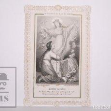 Postales: ANTIGUA ESTAMPA RELIGIOSA TROQUELADA CON PUNTILLA - EL ROSARIO DEL MES DE MARÍA - PRINCIPIOS S. XX. Lote 167824192