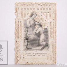 Postales: ANTIGUA ESTAMPA RELIGIOSA TROQUELADA CON PUNTILLA - GRABADO DICHOSA EL ALMA QUE.. - PRINCIPIOS S. XX. Lote 167824764