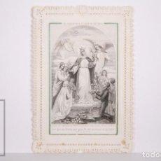 Postales: ANTIGUA ESTAMPA RELIGIOSA TROQUELADA CON PUNTILLA - GRABADO VIRGEN MARÍA - PRINCIPIOS S. XX. Lote 167825556