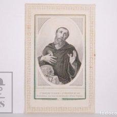Postales: ANTIGUA ESTAMPA RELIGIOSA TROQUELADA CON PUNTILLA - GRABADO SAN FRANCISCO DE ASÍS - PRINCIPIOS S. XX. Lote 167826912