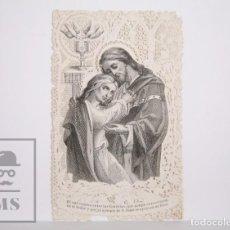Postales: ANTIGUA ESTAMPA RELIGIOSA TROQUELADA CON PUNTILLA - GRABADO JESÚS Y SAN JUAN - PRINCIPIOS S. XX. Lote 167914232