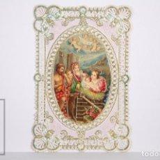 Postales: ANTIGUA ESTAMPA RELIGIOSA CON PUNTILLA - NATIVIDAD / NACIMIENTO DE JESÚS - PRINCIPIOS S. XX. Lote 167917288