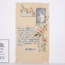 Postales: ANTIGUA ESTAMPA RELIGIOSA PINTADA Y ESCRITA A MANO - A.M. CLARET - PRINCIPIOS S. XX. Lote 167917856
