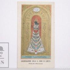 Postales: ANTIGUA ESTAMPA RELIGIOSA - CONGREGAZIONE DELLA S. CASA DI LORETO, ITALIA. VIRGO LAURETANA. Lote 167921264