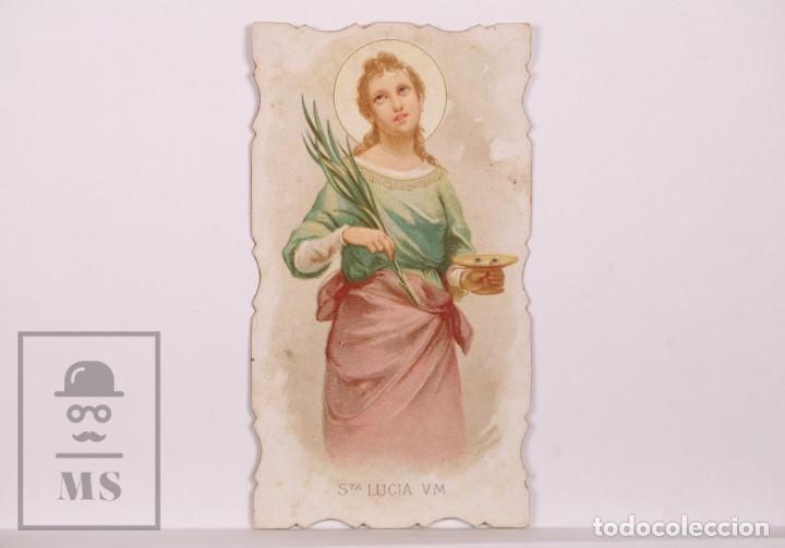ANTIGUA ESTAMPA RELIGIOSA TROQUELADA - SANTA LUCÍA V.M. - PRINCIPIOS S. XX (Postales - Postales Temáticas - Religiosas y Recordatorios)