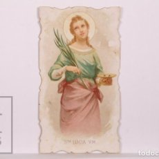 Postales: ANTIGUA ESTAMPA RELIGIOSA TROQUELADA - SANTA LUCÍA V.M. - PRINCIPIOS S. XX. Lote 168823504