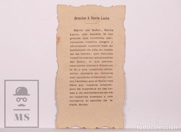 Postales: Antigua Estampa Religiosa Troquelada - Santa Lucía V.M. - Principios S. XX - Foto 2 - 168823504