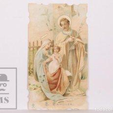Postales: ANTIGUA ESTAMPA RELIGIOSA TROQUELADA - SAGRADA FAMILIA - PRINCIPIOS S. XX. Lote 168825356
