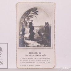 Postales: ANTIGUA ESTAMPA RELIGIOSA - BENDICIÓN DE SAN FRANCISCO DE ASÍS - PRINCIPIOS S. XX. Lote 168825548