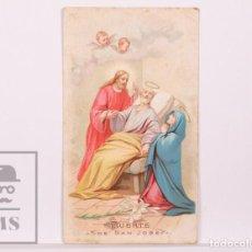 Postales: ANTIGUA ESTAMPA RELIGIOSA - MUERTE DE SAN JOSÉ - PRINCIPIOS S. XX. Lote 168826104
