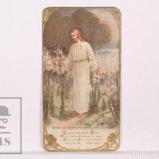 Postales: ANTIGUA ESTAMPA RELIGIOSA MODERNISTA - JESÚS ENTRE LAS AZUCENAS - PRINCIPIOS SIGLO XX. Lote 168826624