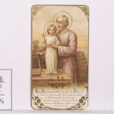 Postales: ANTIGUA ESTAMPA RELIGIOSA MODERNISTA - SAN JOSÉ CON EL NIÑO JESÚS - PRINCIPIOS SIGLO XX. Lote 168826736
