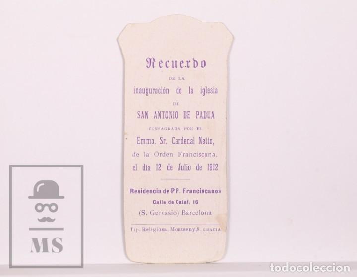 Postales: Antigua Estampa Religiosa Modernista - San Antonio de Pádua / Súplica - Barcelona, 1912 - Foto 2 - 168826900