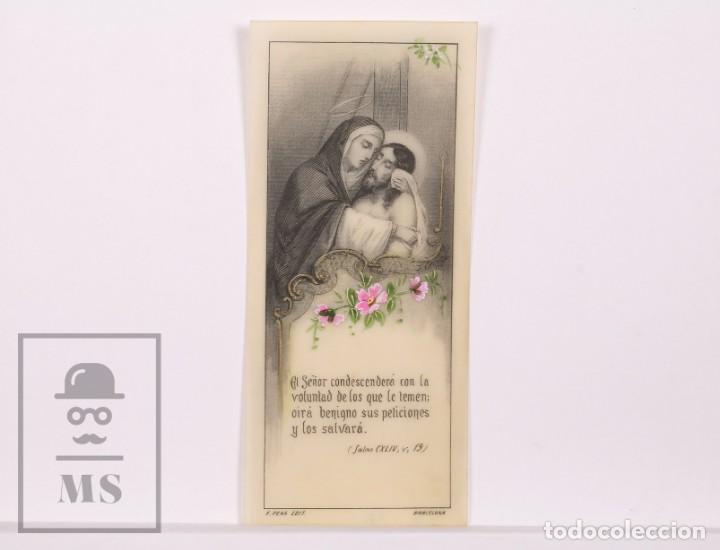 ANTIGUA ESTAMPA RELIGIOSA DE CELULOIDE - VIRGEN MARÍA Y JESÚS - PRINCIPIOS SIGLO XX - PINTADA A MANO (Postales - Postales Temáticas - Religiosas y Recordatorios)