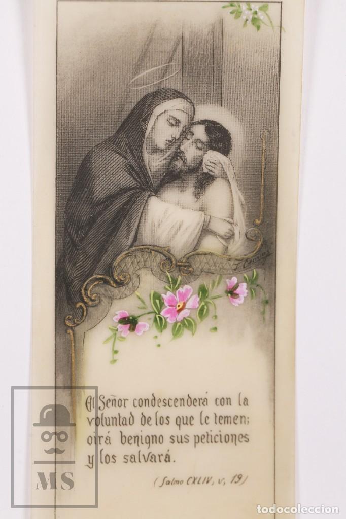 Postales: Antigua Estampa Religiosa de Celuloide - Virgen María y Jesús - Principios Siglo XX - Pintada a Mano - Foto 2 - 168827960