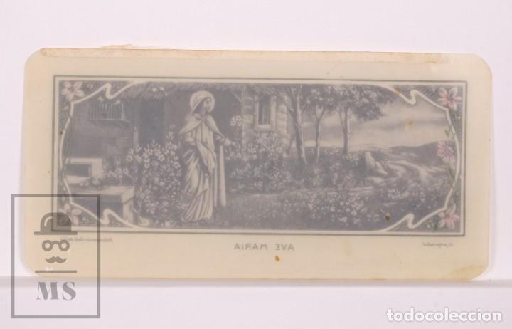 Postales: Antigua Estampa Religiosa de Celuloide - Ave María - Principios Siglo XX - Pintada a Mano - Foto 2 - 168828428