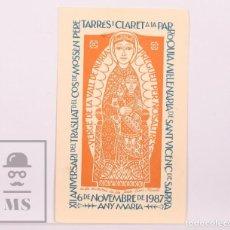 Postales: RECORDATORIO / POSTAL XII ANIVERSARI TRASLLAT DEL COS DE MN. PERE TARRÉS - SANT VICENÇ SARRIÀ, 1987. Lote 168889424