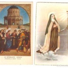 Postales: LOTE DE 2 POSTALES: LO SPOSALIZIO DE RAFAEL. Y SANTA TERESA, FECHADO EN FIGUERAS EN 1956. Lote 169368056