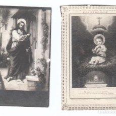 Postales: 2 PEQUEÑAS ESTAMPAS RELIGIOSAS. CRISTO Y NIÑO JESÚS. AÑOS 30? AA. Lote 169435396