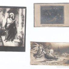 Postales: 3 PEQUEÑAS ESTAMPAS RELIGIOSAS. CRISTO Y NIÑO JESÚS EN TRINEO. AÑOS 30? AA. Lote 169435964
