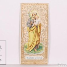 Postales: ANTIGUA ESTAMPA RELIGIOSA - SANCTE JOSEPH / SAN JOSÉ - PUBLICIDAD LA AMAPOLA - PRINCIPIOS S. XX. Lote 169562788