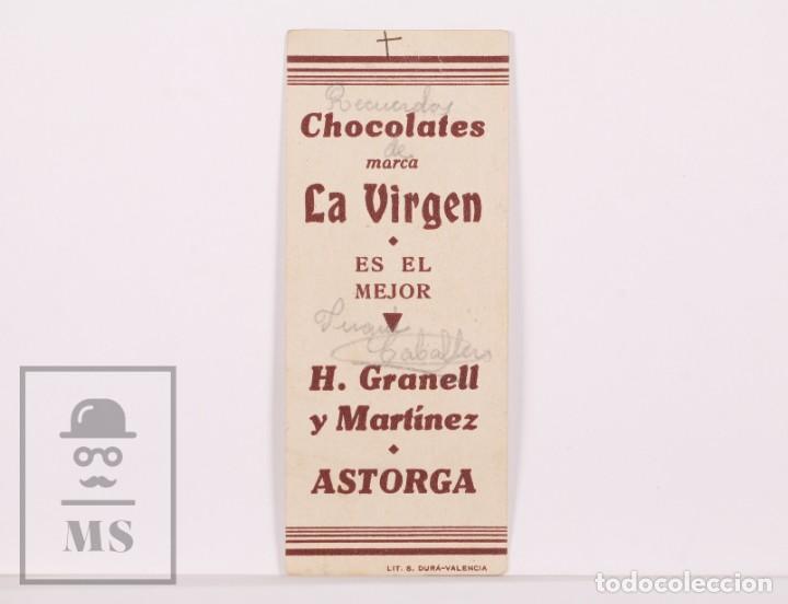 Postales: Antigua Estampa Religiosa - Santa Bárbara - Publicidad Chocolates La Virgen, Astorga. León - Foto 2 - 169563360