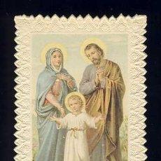 Postales: ESTAMPA RELIGIOSA DE PUNTILLA, CALADA, TROQUELADA: JESUS, MARIA Y JOSÉ. Lote 169699332