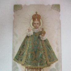 Postales: ANTIGUA ESTAMPA - RECORDATORIO - NIÑO JESÚS DE PRAGA - DETALLES EN DORADO - PRINCIPIOS S. XX. Lote 169849004