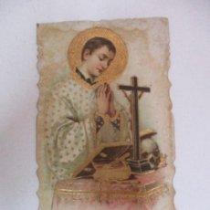 Postales: ANTIGUA ESTAMPA - RECORDATORIO - SAN LUIS GONZAGA - DETALLES EN DORADO - PRINCIPIOS S. XX. Lote 169849520