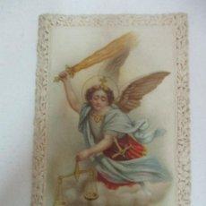 Postales: ESTAMPA - RECORDATORIO - SAN MIGUEL ARCANGEL - TROQUELADO, CALADO A PUNTILLA - S. XIX. Lote 169850920