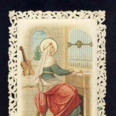 Postales: ESTAMPA RELIGIOSA DE PUNTILLA, CALADA, TROQUELADA: SANTA CECILIA. MUSICA, GUITARRA, ORGANO. Lote 169882068