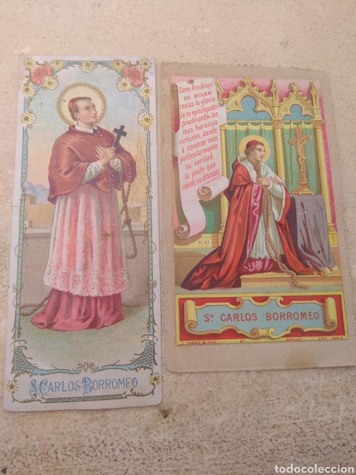 PAREJA DE ESTAMPAS RELIGIOSAS SAN CARLOS BORROMEO (Postales - Postales Temáticas - Religiosas y Recordatorios)