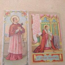 Postales: PAREJA DE ESTAMPAS RELIGIOSAS SAN CARLOS BORROMEO. Lote 170189361