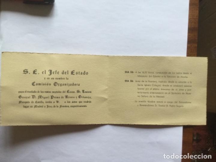 INVITACIÓN ACTOS TRASLADO RESTOS MORTALES PRIMO DE RIVERA Y ORBANEJA (Postales - Postales Temáticas - Religiosas y Recordatorios)
