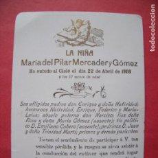 Postales: MARIA DEL PILAR MERCADER Y GOMEZ.-NECROLOGICA.-MARAVILLAS.-SERVICIOS FUNEBRES.-MADRID.-AÑO 1908.. Lote 170867080
