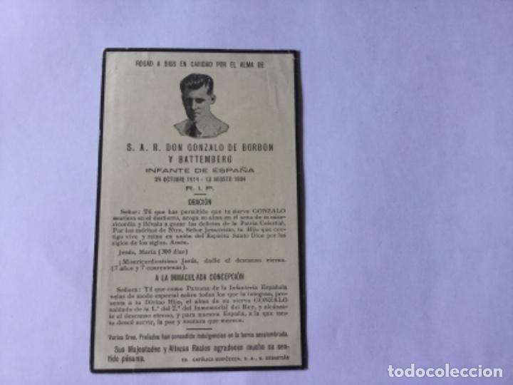 RECORDATORIO S.A.R. DON GONZALO DE BORBON Y BATTEMBERG (Postales - Postales Temáticas - Religiosas y Recordatorios)