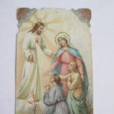 Postales: ESTAMPA TROQUELADA - SAGRADO CORAZON DE JESUS - VIRGEN Y NIÑOS. Lote 171001814