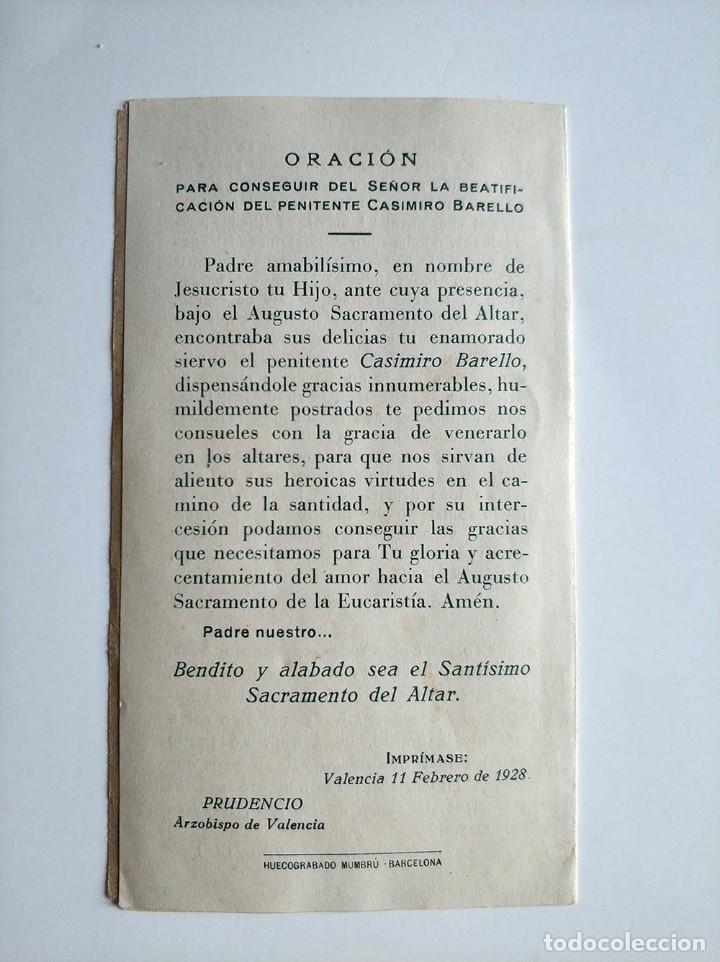 Postales: Antigua estampa Casimiro Barello Morello penitente Valencia 1928 - Foto 2 - 171447855