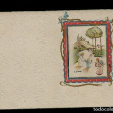 Postales: ANTIGUA ESTAMPA DE COMUNION - CARNET - ILUSTRACION M. DE OLAÑETA - ORIGINAL - SIN TEXTO. Lote 171791394