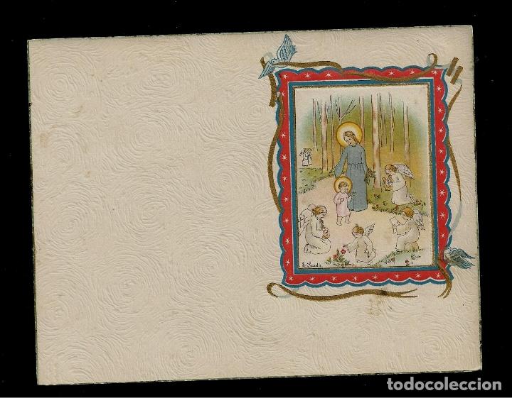ANTIGUA ESTAMPA DE COMUNION - CARNET - ILUSTRACION M. DE OLAÑETA - ORIGINAL - SIN TEXTO (Postales - Postales Temáticas - Religiosas y Recordatorios)